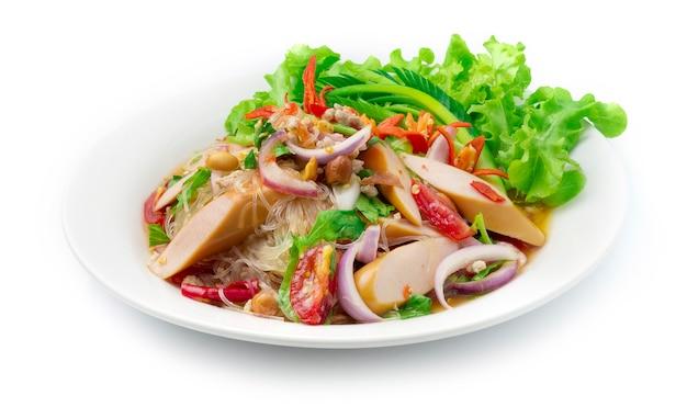 Spaghetti vermicelli insalata piccante con salsa di maiale