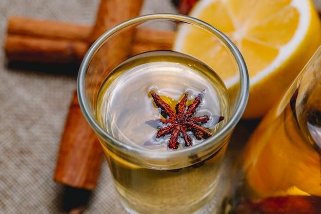Sparato con la tintura con la vista della buccia di limone della bevanda della cannella dell'anice