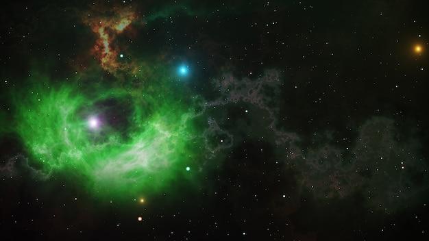 Spazio aperto, stelle e nebulose nello spazio