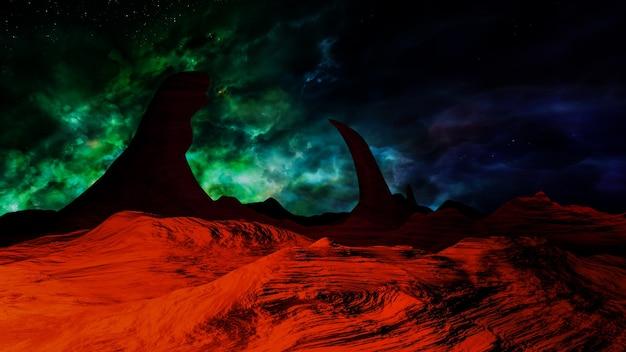 Spazio dell'universo fantasy, illuminazione volumetrica. rendering 3d