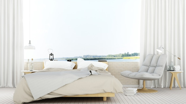 Spazio della camera da letto in hotel punto di vista natura