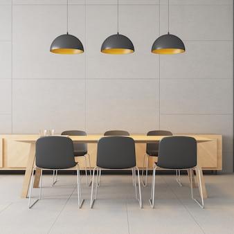 Spazio di lavoro co - interni moderni e loft / rendering 3d