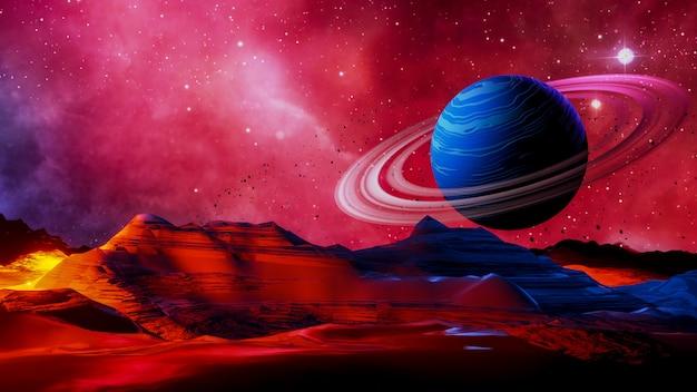 Spazio fantasy, esplorazione della superficie del pianeta. illuminazione volumetrica.