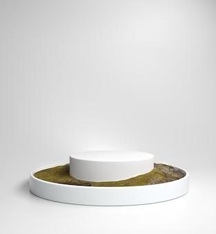 Spazio in bianco bianco di lusso minimo del podio dell'esposizione per i prodotti o i cosmetici di manifestazione con erba e struttura di pietra sul pavimento, rappresentazione 3d
