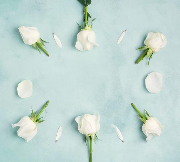 Spazio piatto laico copia fiori freschi di rosa e petali