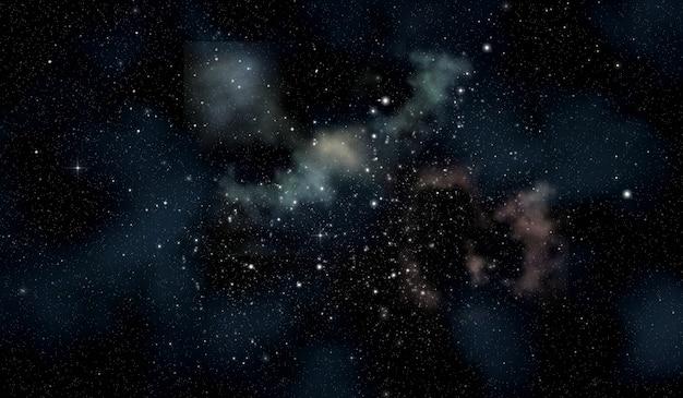 Spazio scena con ammasso di stelle in formato widescreen