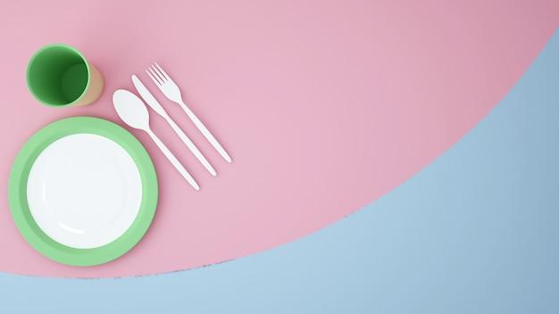 Spazio vuoto del materiale illustrativo del fondo dell'alimento del piatto di vista superiore