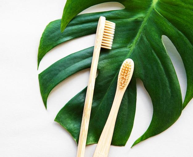 Spazzolini da denti di bambù su foglia di palma