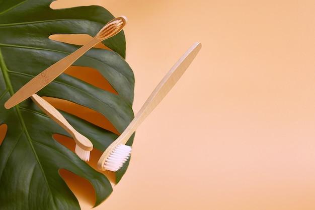 Spazzolini da denti in legno di bambù in volo su uno sfondo di foglia di monstera pianta verde.