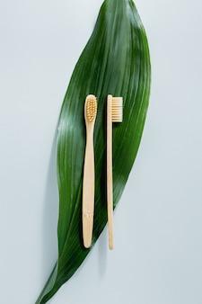 Spazzolini in legno di bambù su pastello