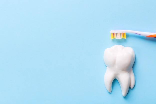 Spazzolino da denti con dente bianco modello sul tavolo blu.