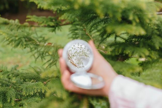 Specchio in mano sullo sfondo della foresta