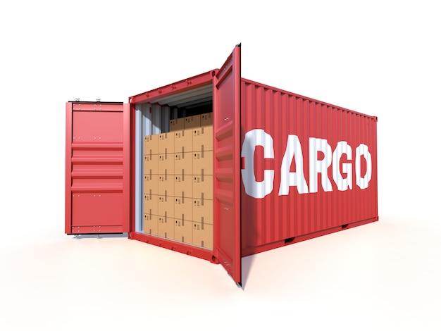 Spedisca la vista laterale del contenitore di carico con le scatole di cartone, isolata su bianco