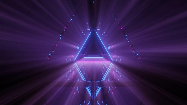 Spettacolo laser di linee luminose di luci al neon con uno sfondo nero
