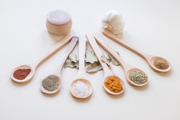 Spezie asiatiche su cucchiai di legno