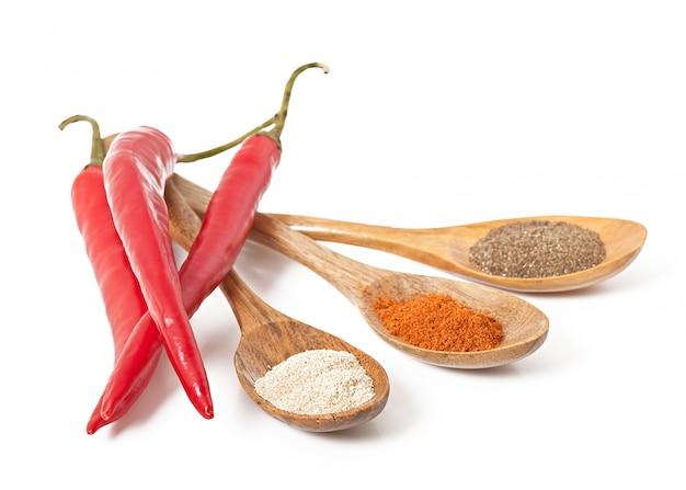 Spezie piccanti in cucchiai di legno