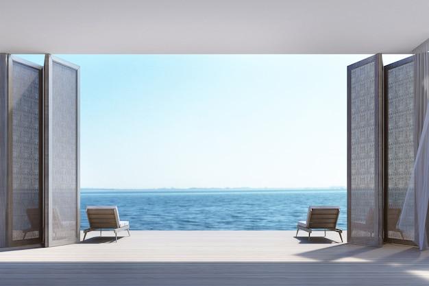 Spiaggia che vive sulla rappresentazione di vista 3d del mare