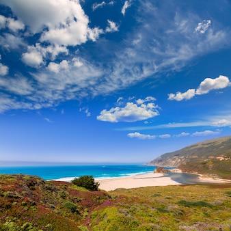 Spiaggia della california in big sur in monterey pacific highway 1