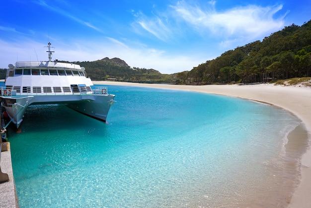 Spiaggia di praia de rodas nell'isola vigo spagna dell'isola di islas