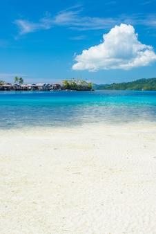 Spiaggia di sabbia bianca, acqua trasparente turchese e lussureggiante giungla verde nelle remote isole togean o togian, sulawesi, indonesia.