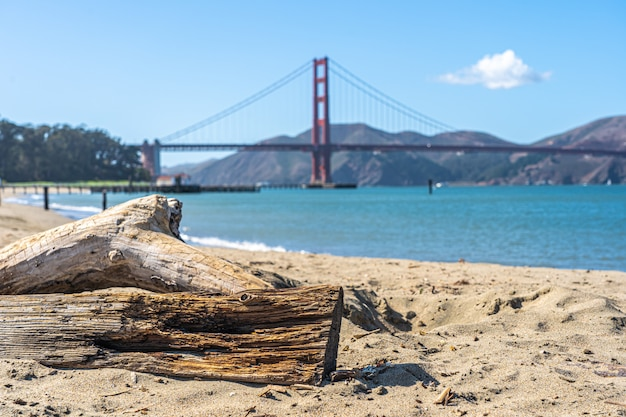 Spiaggia di san francisco con il golden gate bridge all'orizzonte