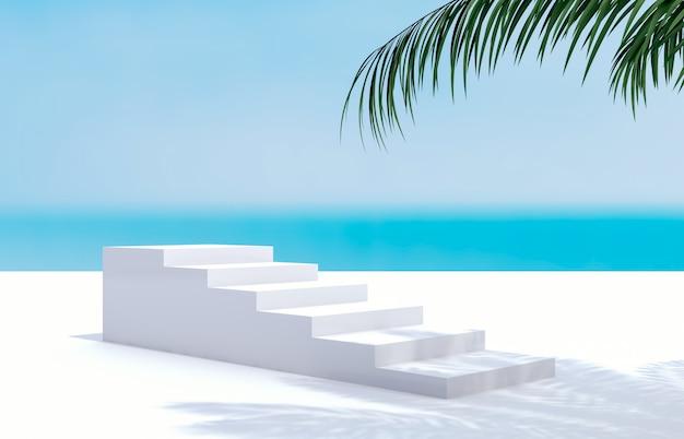 Spiaggia estiva con palme per la visualizzazione del prodotto