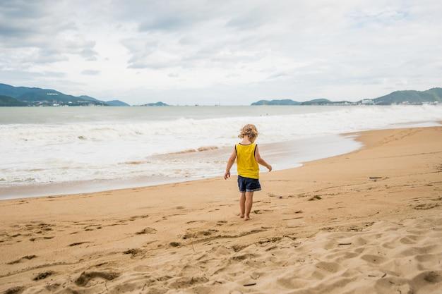 Spiaggia in caso di maltempo. vuoto, onde alte e ragazzo