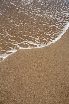 Spiaggia tropicale con sabbia marrone e acqua limpida
