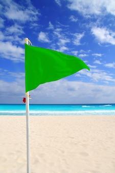 Spiaggia verde bandiera bel tempo vento caraibi
