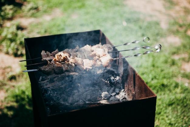 Spiedini del barbecue che si preparano sulla griglia
