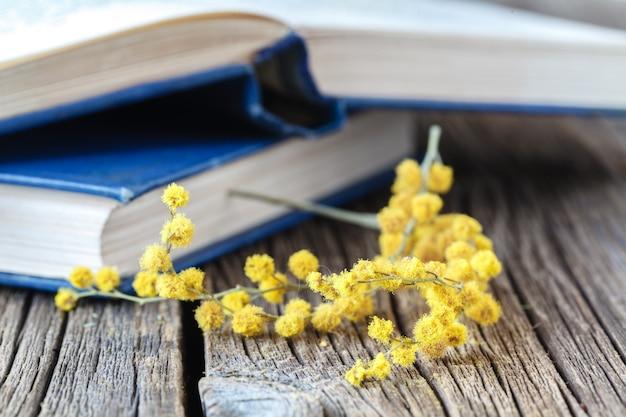 Sping fiori e libri aperti sul tavolo