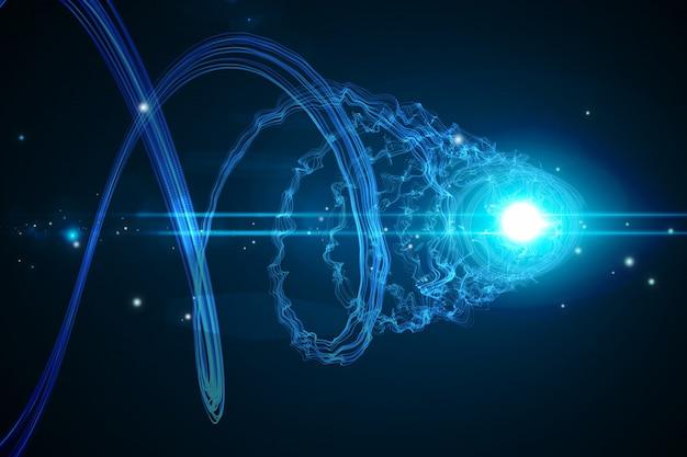 Spirale brillante futuristica su sfondo nero