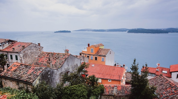 Splendida vista della città antica, dell'isola e del mare su cui naviga la nave. rovigno, istria, croazia