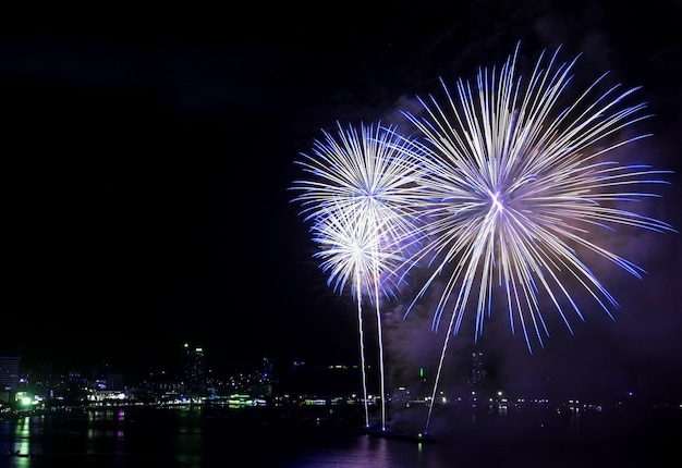 Splendidi fuochi d'artificio blu e bianchi che esplodono nel cielo notturno sopra la baia