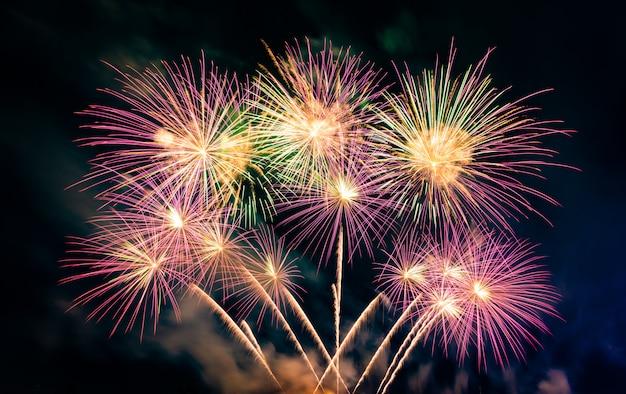 Splendidi fuochi d'artificio colorati sul lago urbano per la celebrazione del buio