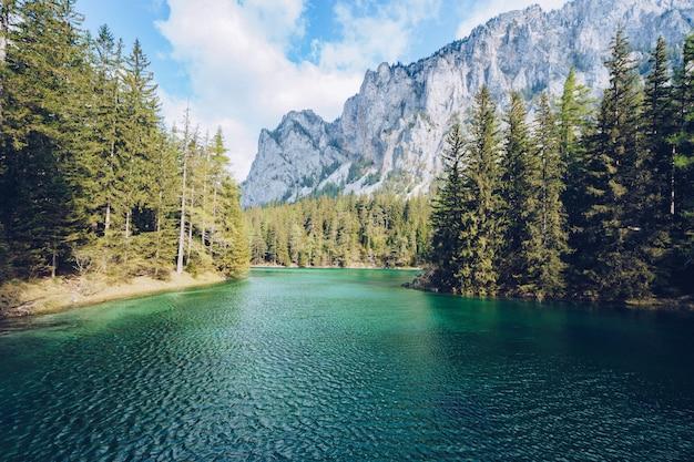 Splendido paesaggio con un lago in una foresta e un'alta montagna rocciosa incredibile