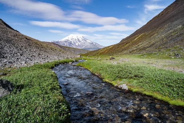Splendido paesaggio primaverile della penisola di kamchatka