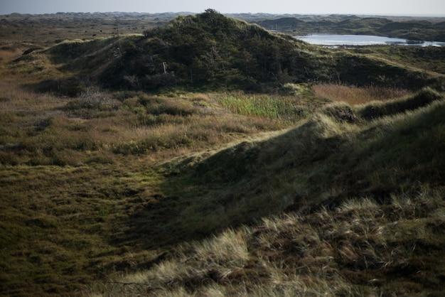 Splendido scenario di colline nel mezzo di un campo sotto il cielo blu