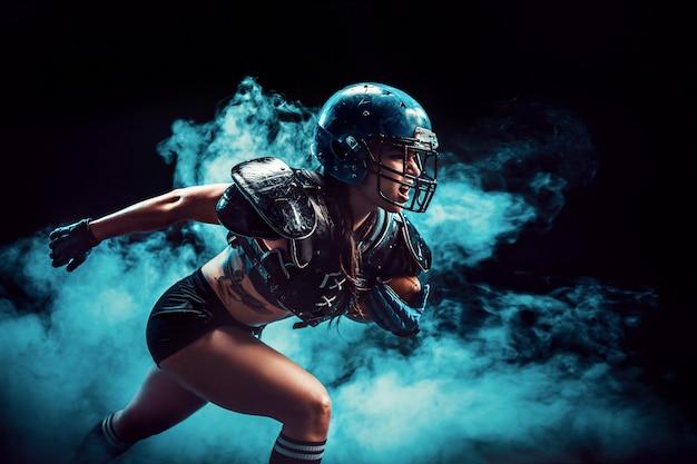 Sportiva aggressiva che gioca a rugby