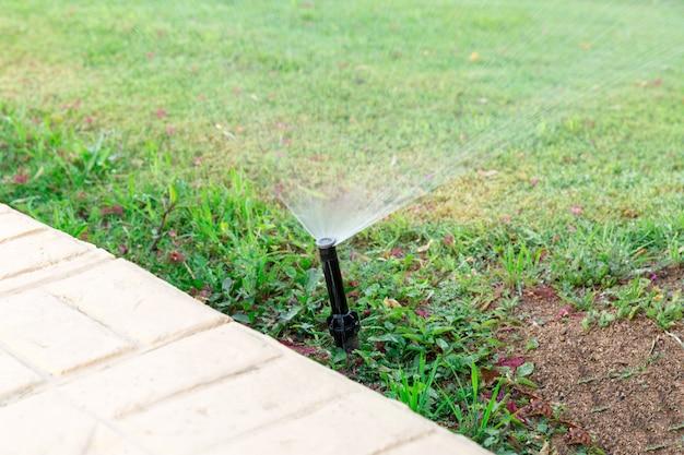 Sprinkler in giardino innaffiare il prato. concetto di prati d'innaffiamento automatico