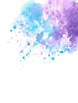 Spruzzata dell'acquerello blu e viola astratta sul bordo
