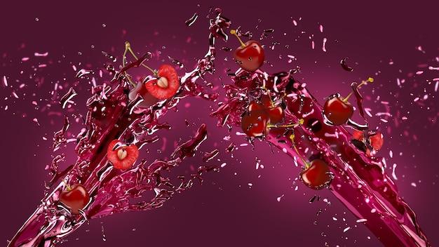 Spruzzata di succo di ciliegia sfondo