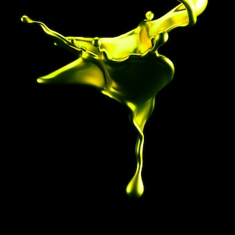 Spruzzata dorata di lusso di liquido. rendering 3d.