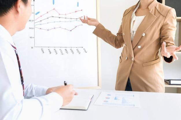 Squadra di affari che lavora ad un ufficio, concetto di riunione
