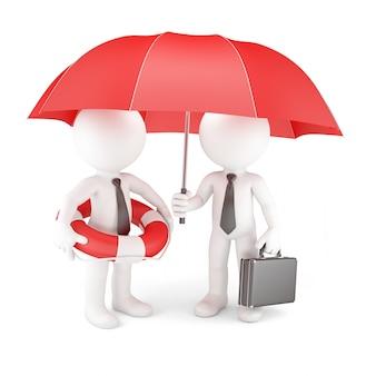 Squadra di affari con l'ombrello e il salvagente