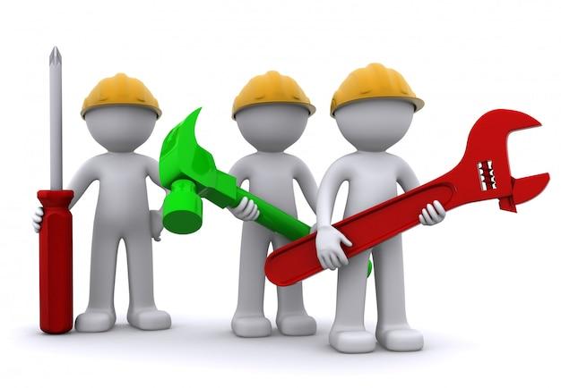 Squadra di operaio edile con attrezzature