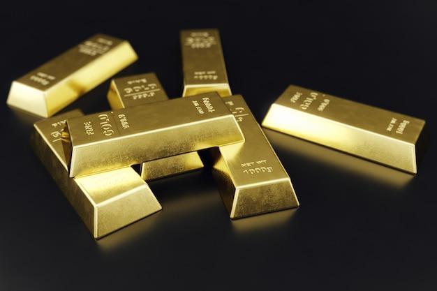 Stack close-up lingotti d'oro, peso di lingotti d'oro 1000 grammi concetto di ricchezza e riserva. concetto di successo negli affari e nella finanza. rendering 3d