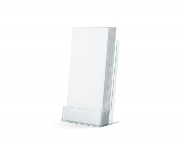 Stack di volantini bianchi vuoti mock up in supporto di plastica di vetro