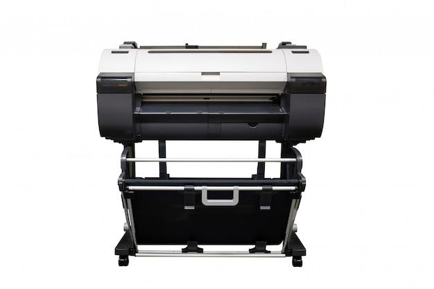 Stampante a getto di inchiostro di grande formato isolata su priorità bassa bianca
