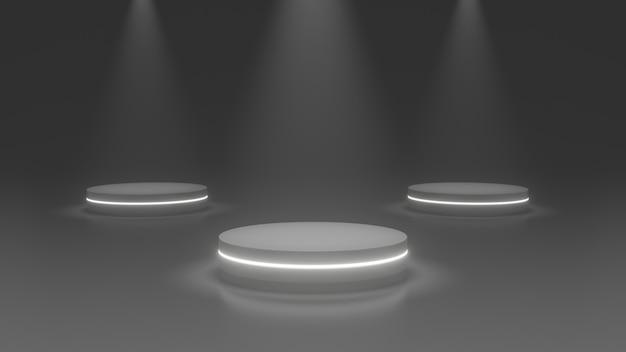 Stand del prodotto podio, future o sapce concept, rendering 3d di luce scenica.